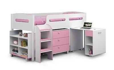 Julian Bowen Kimbo Pink + White Mid Sleeper Bed + Storage + Desk