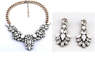 Flower Crystal Drop Crew Bib Statement Pendant Necklace Stud Earrings Set P11 - Handmade Studded Bib