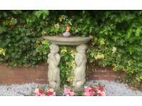 beautiful garden statue/bird table, solid stone, Pans Pipers, £50 or nearest offer