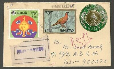 AOP Bhutan registered cover to India with round gold foil stamp 15ch