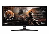 "34UC79G 34"" 2560x1080 IPS FREESYNC 144Hz Curved Gaming Widescreen LED Monitor - Black/Red"