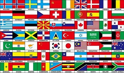 70 NATIONS COUNTRIES FLAG 5X3 FEET Africa Europe America INTERNATIONAL FLAGS