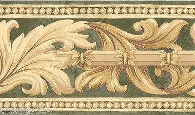 Leaf Scroll Wall Border (Golden Gold Beige Acanthus Leaf Scroll Faux Green Bead Molding Wall paper Border )