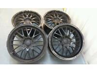 "Black deep dish 18"" Lamborghini style alloy wheels 5x110 Vauxhall Saab"