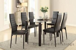 """New Year Sale"" Sophisticated & Elegant 5 Pc Glass Dining Set Blow Out Sale at Splendid Furnishings"