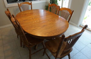 "Solid Oak Dining Set including 6 Chairs and 2 12"" Leafs"