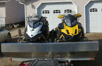 2 NEWER SKIDOOS  & NEWER TRAILER FOR SALE AS PACKAGE