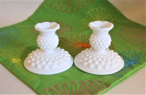 Pair of Fenton Hobnail Milk Glass Candle Holders