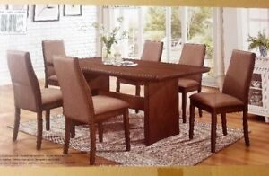Trestle-Base Expandable Designer Wood Dining Table with 6 Chairs