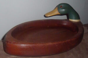 Vintage (80+ YEARS) Hand Carved Wood Duck Tray Property of Alcol