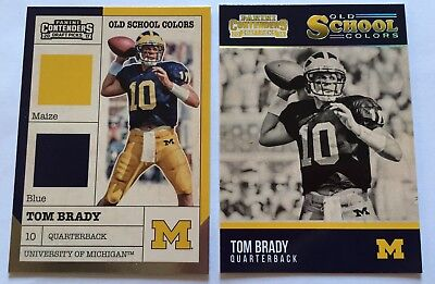 2016 17 Tom Brady   Rare  Old School Colors Michigan Insert Lot  2  Patriots