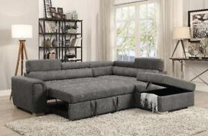 SPRING SALE ON NOW 2PCS AIR LEATHER SECTIONAL WITH ADJUSTABLE HEAD REST $999 LOWEST PRICES GUARANTEED