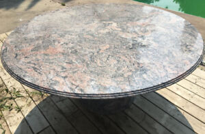 "Dining kitchen patio marble table from The Art Shoppe 60"" round"