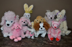 Cute Mix of Stuffed Animals - Poodles, Bears, Bunny