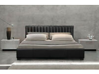 New Dallas Black Faux Leather 4ft6 Double Bed with Memory Foam Mattress