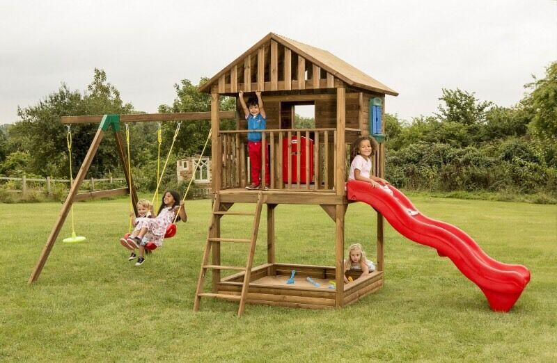 Little tikes treehouse playhouse swing slide set in for Childrens playhouse with slide and swing