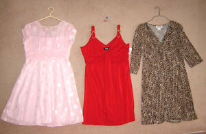 Dresses (1 new), T.H. Capris, Jackets, Tops (some new - 16, XL