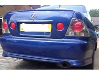 Lexus is200 blue 8n8 rear bumper + lip skirt 98-05 breaking spare is 200 is300 TTE TRD AERO KIT post