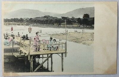 early 1900s Antique Postcard Japan Color PC Dock Scene