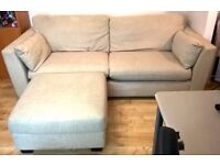 Large Cream Sofa and Stool