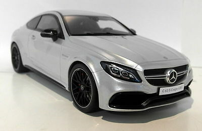 GT Spirit 1/18 Scale Mercedes Benz C63 S Coupe Silver Resin cast Model Car