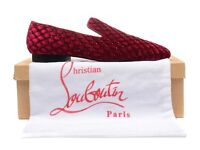 CHRISTIAN LOUBOUTIN Mens Loafers in Red Velvet, Black Diamanté | SIZE 42 US 9