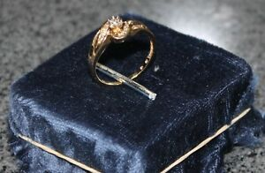 Size 7 14kt Yellow Gold and Real Diamond Ring
