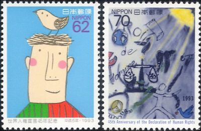 Japan 1993 Human Rights 45th/Birds/Scales/Art/Animation 2v set (n29495)