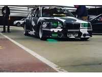 BMW 320i, wide arch, camo paint, custom wheels, one-off modified drift style