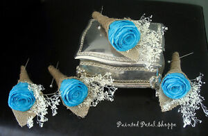 Coffee Filter Rose Boutonniere/Rustic Teal Wedding Boutonniere Belleville Belleville Area image 3