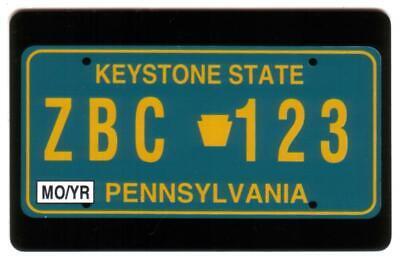 10m Pennsylvania License Plate Card: Keystone State No Logo SPECIMEN  Phone Card