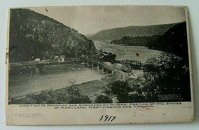 1917 Postcard Junction Of Potomac   Shenandoah Rivers West Virginia Maryland