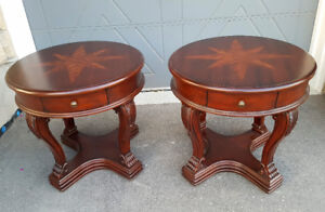Solid Wood Compass Star End Tables