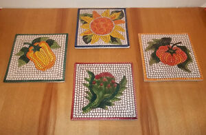 4 Italian handpainted porcelain tiles trivet hotplate decorative