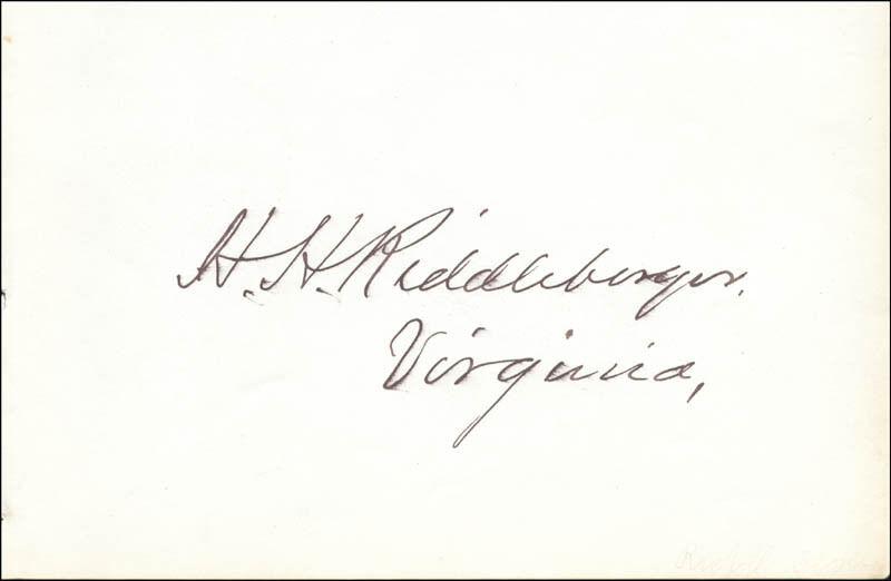 HARRISON H. RIDDLEBURGER - SIGNATURE(S)