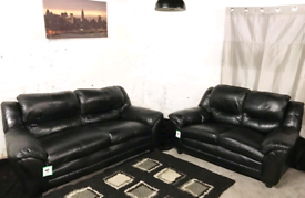 : Black Real leather 3+2 seater sofas