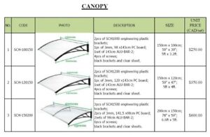 Canopy / Awning for doors or windows (3 sizes)