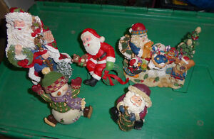 5 smaller resin Christmas decor pieces (snowman, Santas)