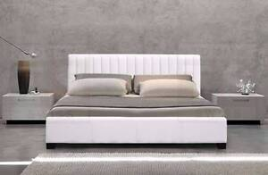 MOdern king size with storage / gas lift white color pu Leather b Forest Hill Whitehorse Area Preview