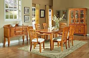 BRAND NEW OAK DINNING TABLE SET WITH 6 CHAIRS FOR 799$