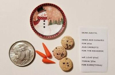 Miniature dollhouse Christmas Dear Santa Letter and Cookies  Barbie 1/12 1