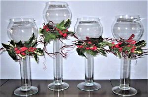 Set Of Four Festive Tall Glass Candle Holders