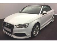 2015 WHITE AUDI A3 CABRIOLET 1.4 TFSI 150 S LINE AUTO CAR FINANCE FROM 62 P/WK