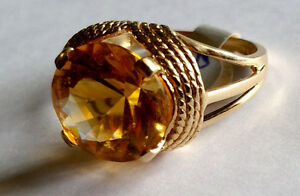 14KT YELLOW GOLD CITRINE AND DIAMOND RING London Ontario image 3