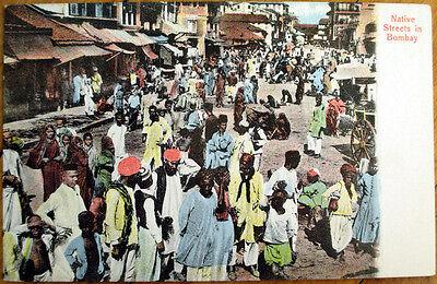 1908 Bombay/Mumbai, India Postcard: Native Streets/Downtown