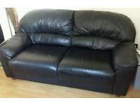 black leather 3 +2 seater sofa