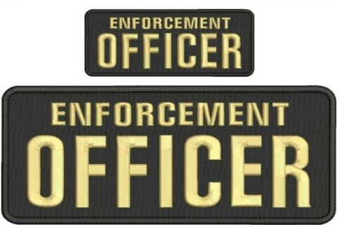 ENFORCEMENT Officer embroidery patches 4x10 and 2x5 hook on back tan