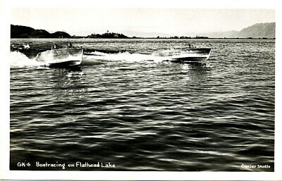 "MT Montana ""Boat Racing on Flathead Lake"" Unposted Real Photo RPPC Card"