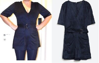 BLOGGERS,NEW,ZARA,SHORT MINI BLUE SUEDE JUMPSUIT WITH BELT,USA L for sale  Shipping to United States