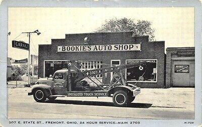 Fremont Oh Bookie's Auto Tienda Remolque Camiones Wrecker Service Tarjeta Postal segunda mano  Embacar hacia Spain